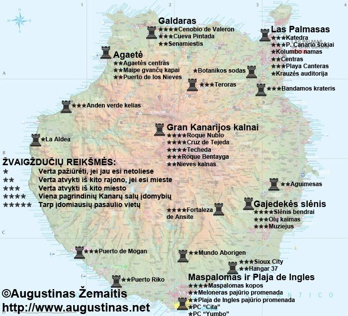 Gran Kanarijos lankytinų vietų žemėlapis. Galbūt jis jums padės susiplanuoti savo kelionę į Gran Kanariją