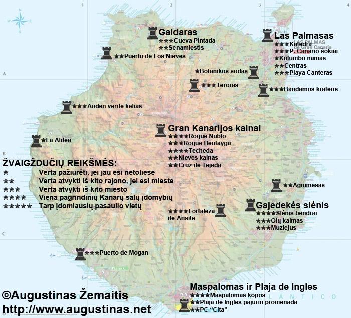 Gran Kanarijos lankytinų vietų ir kelionės į Fuerteventurą žemėlapis
