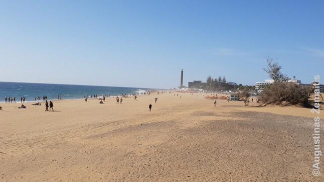 Vaizdas į paplūdimį nuo Maspalomas kopų. Tolumoje - Maspalomas švyturys