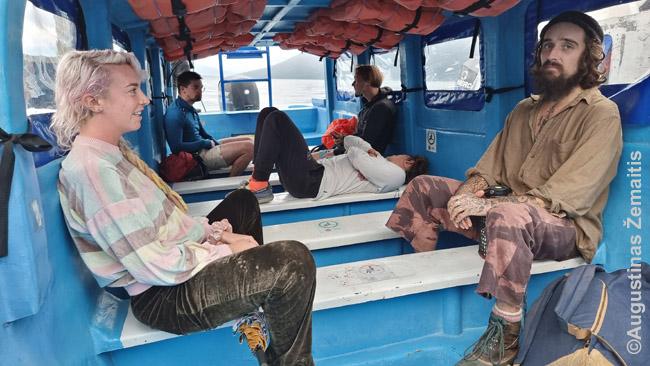 Keliautojai laive per Atitlano ežerą