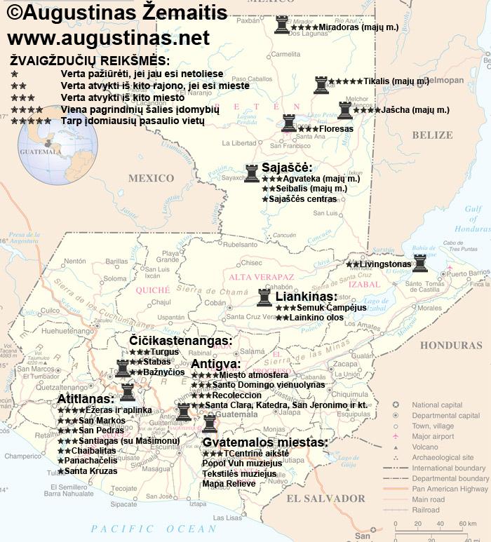Gvatemalos lankytinų vietų žemėlapis. Viliuosi, jis padės jums susiplanuoti savo kelionę į Gvatemalą