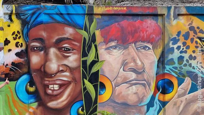 Indėną ir juodaodį vaizduojanti freska Livingstone