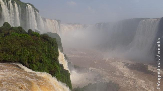 Igvasu vaizdas iš Brazilijos pusės, dešinėje - Argentina