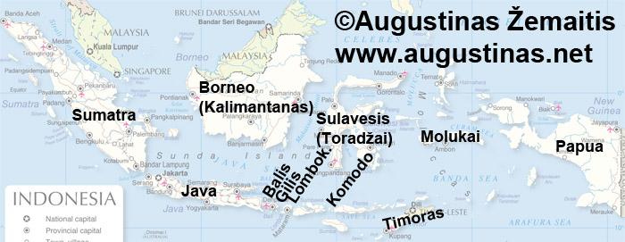 Didžiausios ir kitos kelionei įdomios Indonezijos salos žemėlapyje