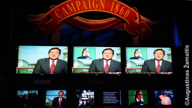 Springfildo prezidento Linkolno bibliotekoje-muziejuje - ekranai, rodantys agitacinius 1860 m. prezidento rinkimų klipus. Tik kad 1860 m. nė nebuvo televizijos! Klipai specialiai sukurti muziejui, kad padėtų šiandieniniam žmogui ar net vaikui įsivaizduoti tuometes aistras JAV, privedusias prie pilietinio karo