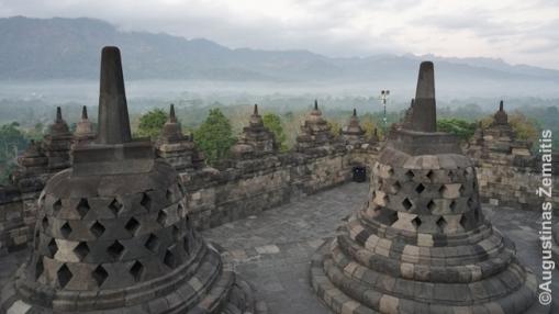 Stupos netoli Borobudūro viršūnės