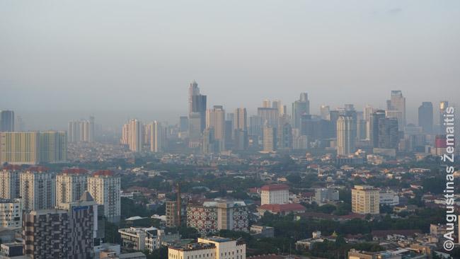 Džakartos panorama. Centre kyla verslo rajonas