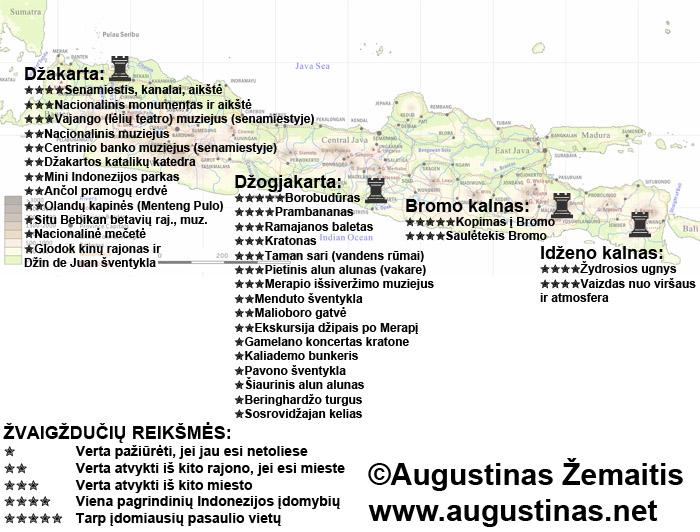 Javos lankytinų vietų žemėlapis. Galbūt jis padės jums susiplanuoti savo kelionę į Javą (Džakartą, Džogjakartą, Bromo ir Idženo ugnikalnius).