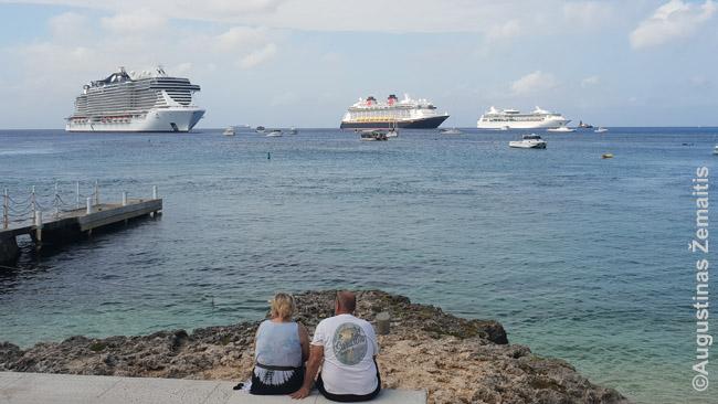 Į Kaimanų salas sezono metu kasdien atplaukia ne po vieną milžinišką kurizinį laivą - kartu visuose juose plaukia tiek keleivių, kad prilygsta kokiam šeštadaliui Kaimanų salų gyventojų