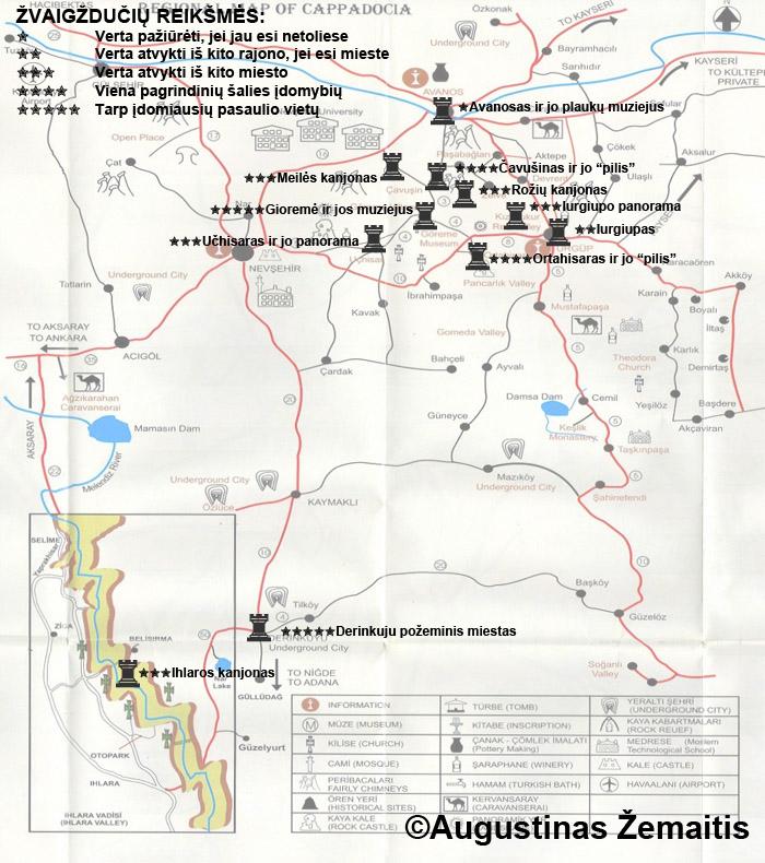 Kapadokijos lankytinų vietų žemėlapis ir įvertinimai. Galbūt jis jums padės susiplanuoti savo kelionę į Kapadokiją