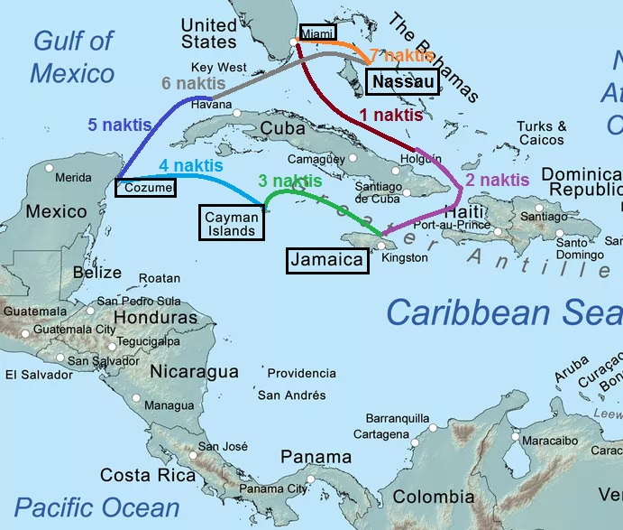 Antrojo mano kruizo po Karibų salas žemėlapis