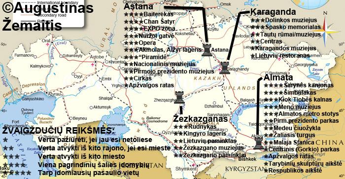 Kazachijos lankytinų vietų žemėlapis ir įvertinimai. Galbūt jis padės jums susiplanuoti savo kelionę į Kazachiją
