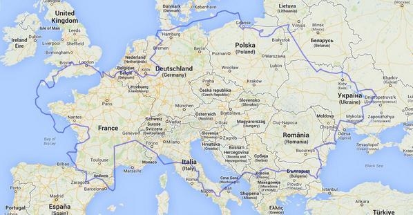 Kazachijos kontūrai (mėlyni) uždėti ant Europos žemėlapio