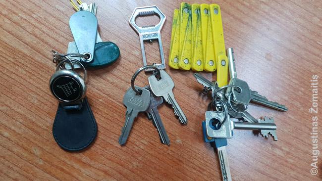 Kiekvieną daiktą reikia išnaudoti, tad mano raktų pakabukai nėra tik raktų pakabukai. Stengiuosi, kad kiekvienas atliktų ir reikalingą funkciją. Iš dešinės į kairę: parduotuvių vėžimėlių išėmėjas, atidarytuvas, metras.