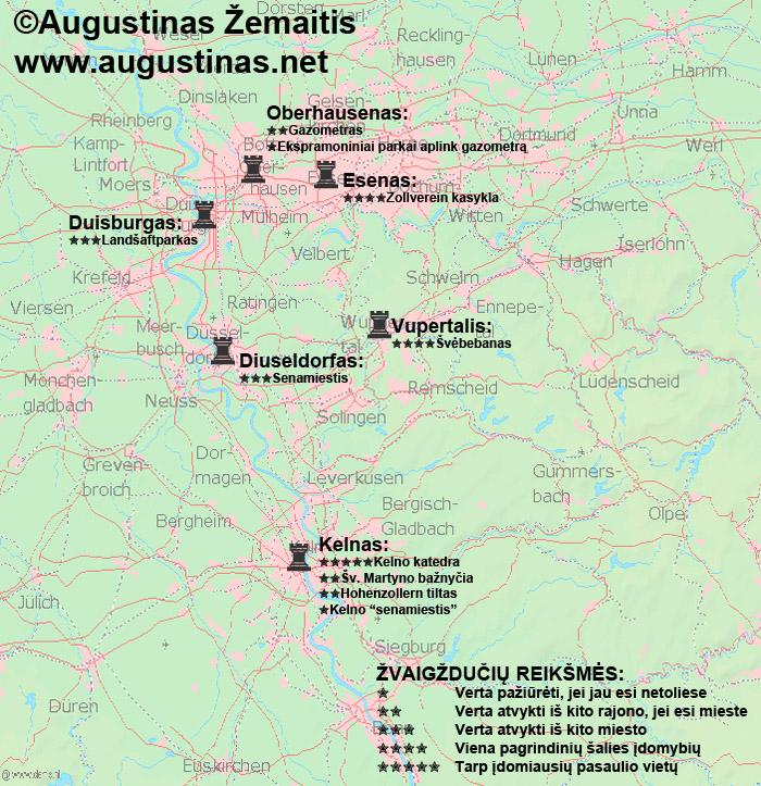 Kelno ir Rūro regiono lankytinų vietų žemėlapis. Galbūt jis padės jums susiplanuoti savo kelionę į Kelną ar Rūro regioną.