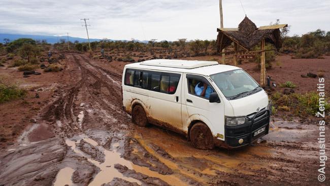 Ką tik ištrauktas užklimpęs safarių mikroautobusas prie Amboselio nacionalinio parko