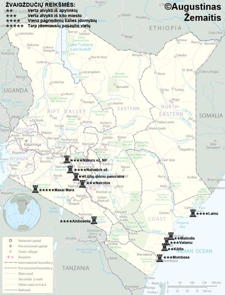 Kenijos lankytinų vietų žemėlapis. Gal jis padės jums susiplanuoti savo kelionę į Keniją. Smulkesni žemėlapiai - straipsniuose apie Kenijos regionus.