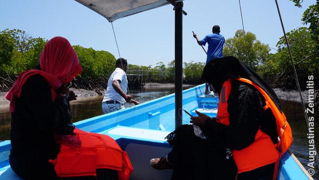 Kapitonas ir padėjėjas stumia valtį per atoslūgio zoną