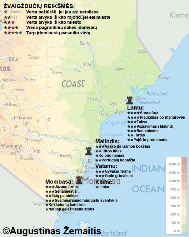 Kenijos pakrantės lankytinų vietų žemėlapis. Gal jis padės jums suplanuoti savo kelionę į Kenijos kurortus bei pajūrio miestus