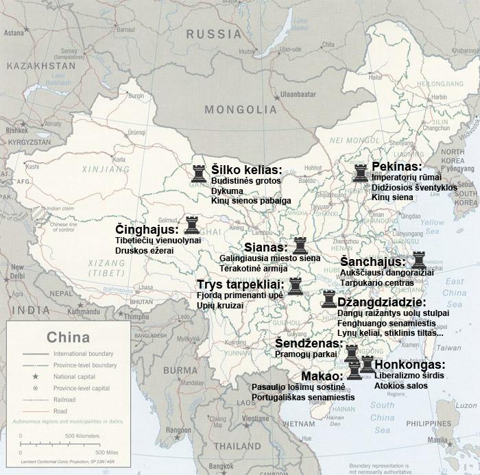 Pagrindinių Kinijos lankytinų vietų telkinių žemėlapis