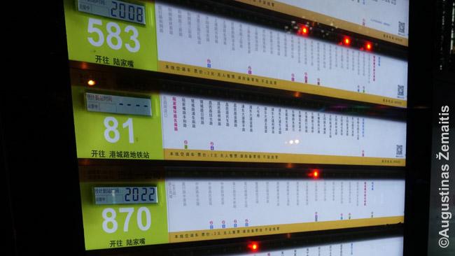Didesnėse stotelėse žibančios šviesos prie stendų rodo, ties kuria stotele dabar yra autobusai