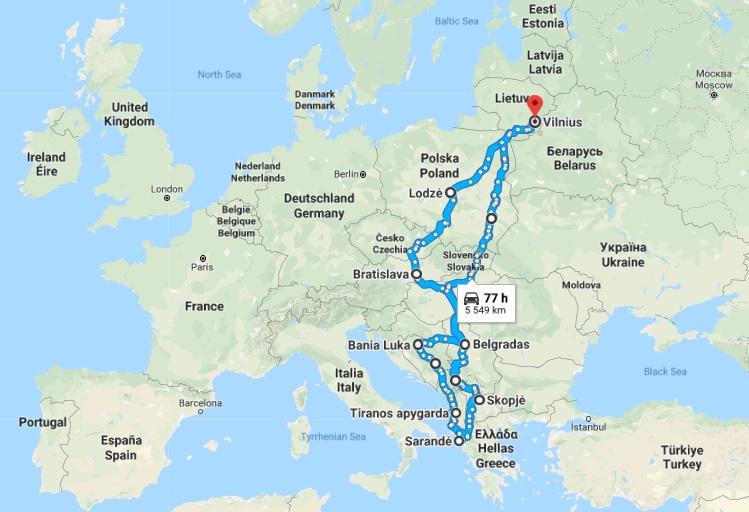 Važiavimo į Balkanus apytikslis planas