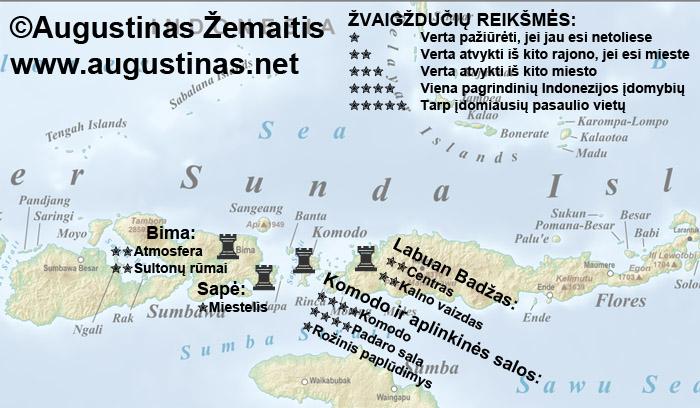 Komodo apylinkių lankytinų vietų žemėlapis. Galbūt jis padės jums susiplanuoti savo kelionę į Komodo apylinkes.
