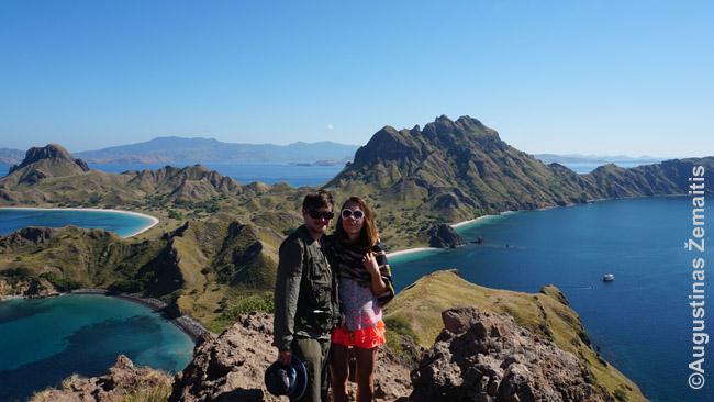 Nuostabios salų aplink Komodą panoramos. Vaizdas Padaro saloje