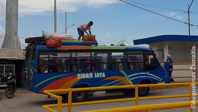 Autobuso konduktorius Sapės uoste krauna daiktus - irgi kraus į keltą, kai tas atvyks kitą dieną