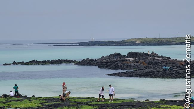 Čedžu paplūdimys su turistais