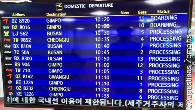 Išvykimo lenta Čedžu oro uoste - vienos valandos skrydžiai į įvairius Korėjos miestus, vežantys atostogautojus. Čedžu gyventojų - panašiai, kaip Vilniuje