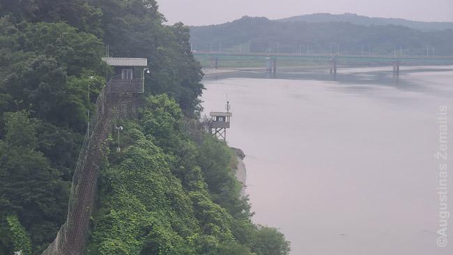 Vaizdas iš lynų keltuvo į tai, kas atrodo kaip Šiaurės Korėjos siena. Iš tikrųjų įtvirtinimai abipus Imdžino upės yra Pietų Korėjos, bet, kadangi į šią upę galima atplaukti ir iš šiaurės, jie saugo, kad infiltratoriai neišsilaipintų upės krantuose
