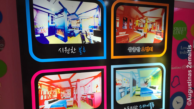 Korėjos motelių kambarių reklamos