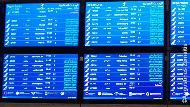 Skrydžių informacija Dohoje. Atšaukta mažai skrydžių