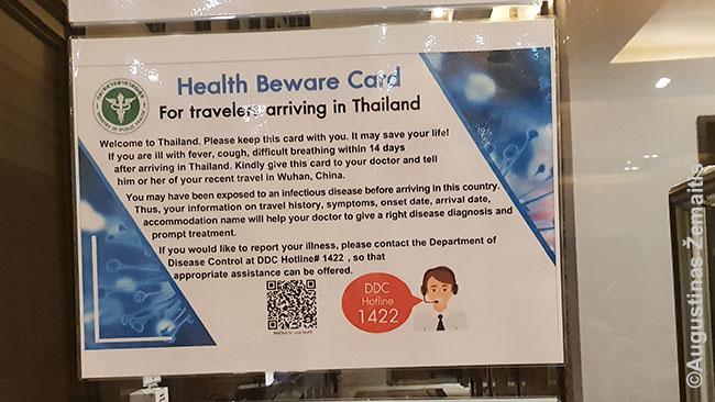 Įspėjjimas apie koronavirusą keliaujantiems