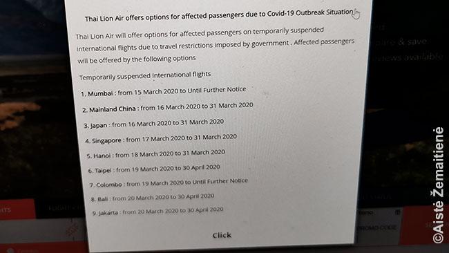 Thai Lion Air nutraukti skrydžiai