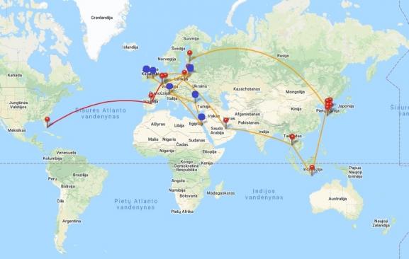 Mano 2020 m. skrydžiai. Oro uostai, per kur skridau kelionės į Egiptą metu, pažymėti mėlynai