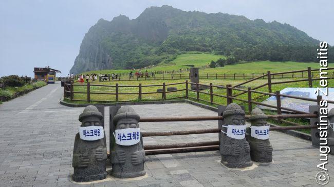 Vienas Čedžu vulkanų. Čedžu simboliai - akmeninės senių statulos, kurių ten pilna - kaip socialinė reklama neretai papuoštos kaukėmis
