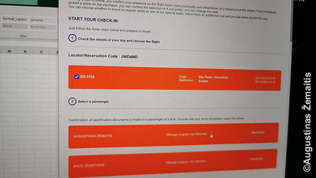 Registracija internetu į skrydį į Kujabą prie Pantanalio