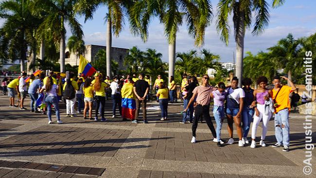 Protestas Dominikos Respublikoje solidarizuojantis su Kolumbija