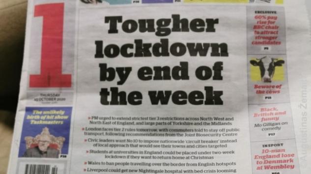 Laikraščio pranešimas Britanijoje