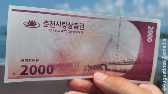 Pietų Korėjoje pirkdamas bilietą į lankytiną vietą gauni ir tokių kuponų. Jų vertė gali būti ir analogiška bilieto vertei. Juos gali išleisti pas vietos verslininkus. Išeina, kad valdžia juos paremia, bet ne tiesiogiai duodama pinigų už nieką, tačiau didindama jų apyvartas.