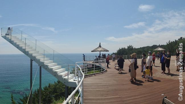 Korėjiečiai laukia eilės nusifotografuoti ant laiptų į niekur. Išdrįstančius užlipti į viršų palaiko plojimais