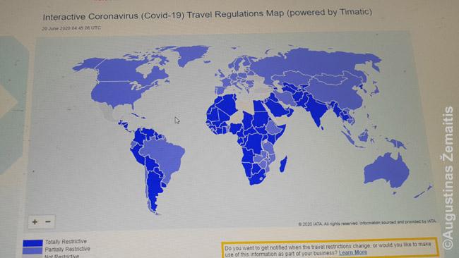 Atviros (pačios šviesiausios) ir uždaros ar pusiau uždaros šalys IATA (aviacijos organizacijos) žemėlapyje