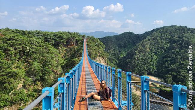 Ant Vondžu pakabinamo tilto. Nuotraukos prie įėjimo rodė, kad jis būna sausakimšas...