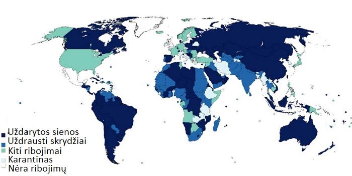 Įvažiavimo į šalis ribojimai Pasaulio turizmo organizacijos duomenimis (2020 04 06)