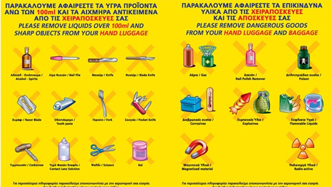 Draudžiamų lėktuve daiktų sąrašas Europos Sąjungoje. Kairėje pusėje parodytų daiktų negalima imti į saloną (rankinį bagažą), dešinėje - ir į rankinį, ir į registruotą bagažą. Kitose šalyse reikalavimai gali būti ne tokie griežti, bet daugelis jų sutampa