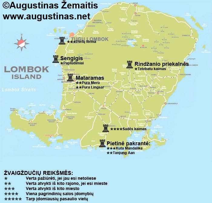 Lomboko lankytinų vietų žemėlapis. Galbūt jis padės jums susiplanuoti savo kelionę į Lomboką.