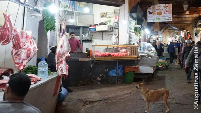 Mėsos rajonėlis Feso miesto medinoje