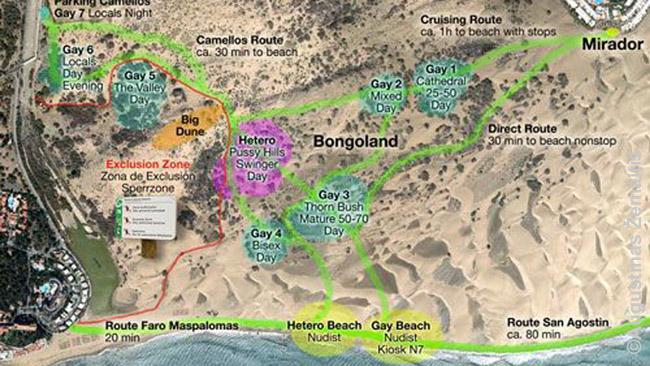 Maspalomas kopų 'zonų' planas iš interneto